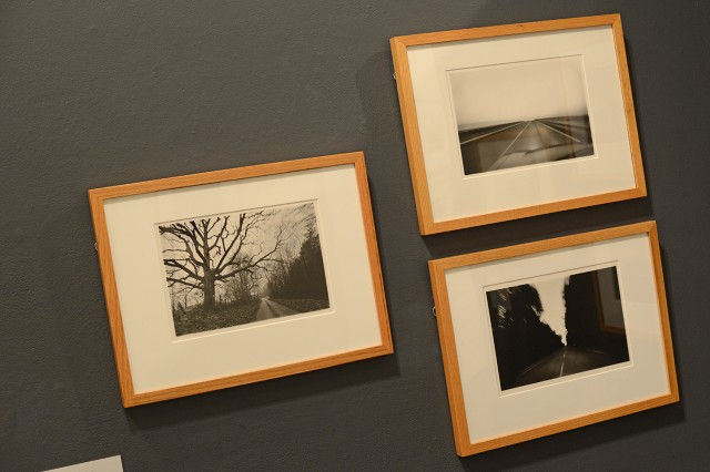 "On exhibit are Tom Zetterstrom's  (American, born 1945) ""Oak '75, 1978,"" ""Southbound '79, 1979,"" and Roadway '77, 1979 from his Moving Point-of-View series."
