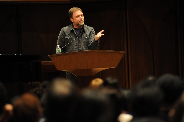 Anti-racist activist Tim Wise delivered the keynote address at Wesleyan's Celebration of the Life of Dr. Martin Luther King Jr., Jan. 31 in Memorial Chapel.