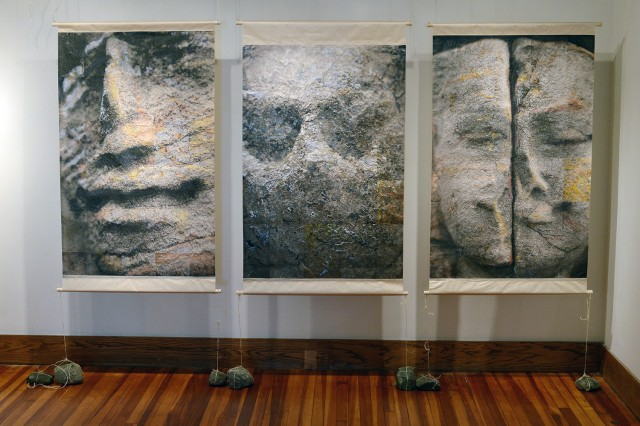 Heebner often turns to myth to broaden her understanding of the bonds between humans and the earth. When she went to Cambodia's Angkor temple complex in 2000 and 2001, she began a series she called geography of a face to further her exploration of the connection between human and geographic form.