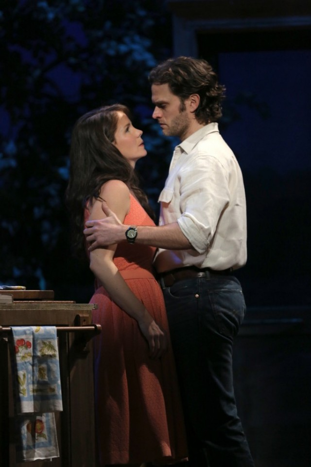 Kelli O'Hara and Steven Pasquale in The Bridges of Madison Country musical on Broadway. (Photo by Joan Marcus)