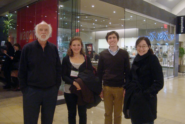 From left, Bill Trousdale, associate professor of physics, emeritus; Lindsay Ceballos '07, Booth Wilson '07 and Emily Wang '08 recently attended the annual convention of the American Society of East European and Eurasian Studies.