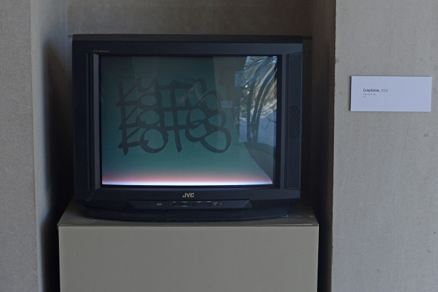 The images, objects and experiences in the exhibition Intellectual Property Donor suggest a new way to exist within the current environment shaped by our participation in an increasingly cyber and global world, yet grounded in our need for materiality and personal connections. Pictured is Compilation, 2014, a single channel video.