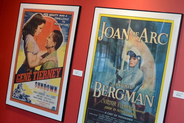 "At left is a 1941 poster from the film ""Sundown."" It's from the Gene Tierney Collection.  At right is a 1948 poster from Sierra Pictures features ""Joan of Arc"" from the Ingrid Bergman Collection."