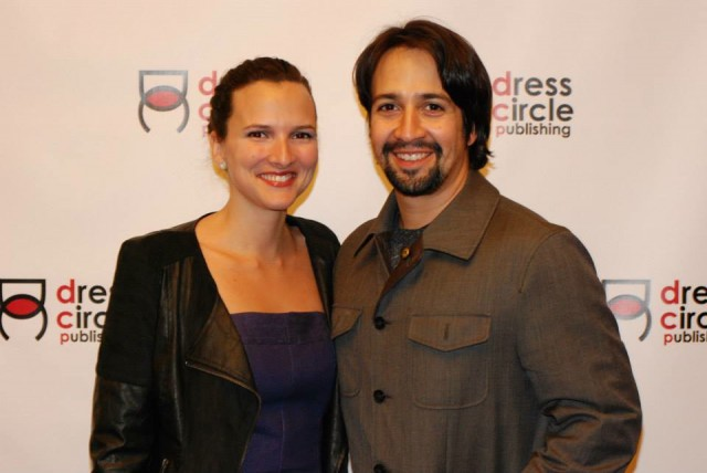 Roberta Pereira '03 with Lin-Manuel Miranda '02 at launch party of The Untold Stories of Broadway by Jennifer Ashley Tepper. (Photo: Kristin Goehring)