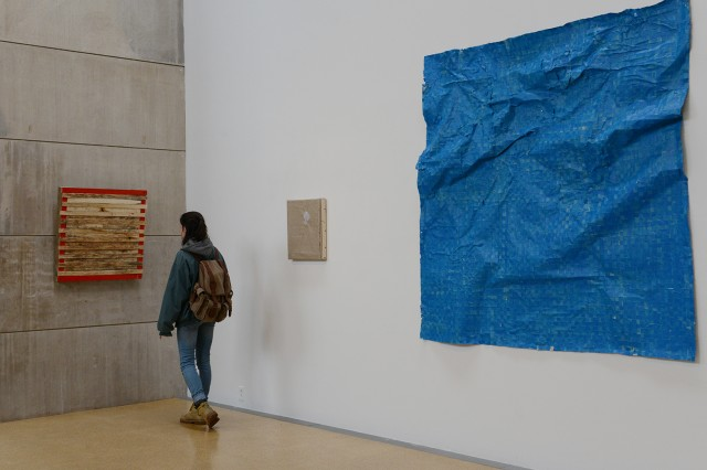"""Emily Bernstein's senior art thesis called """"0,1."""" Pictured in the photograph is Genna DeGroot '15."""
