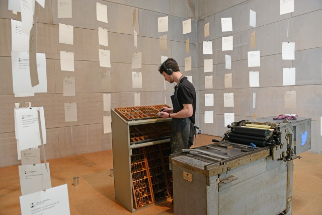 "Alex Ely Ginsberg displays his senior art thesis called ""@gutenberg."""