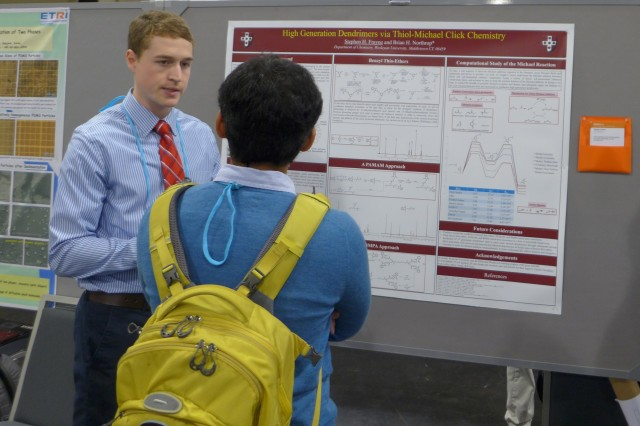 "Chemistry graduate student Stephen Frayne presented his research titled ""High Generation Dendrimers via Thiol-Michael Click Chemistry"" at the meeting."