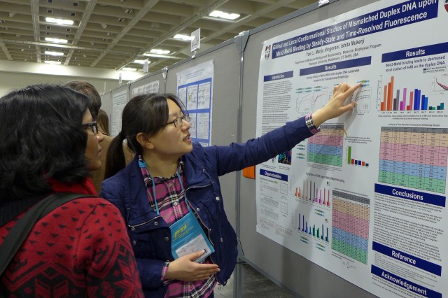 "Molecular biology and biochemistry graduate student Yan Li presented  her research titled ""Global and Local Conformational Studies of Mismatched Duplex DNA upon Msh2-Msh6 Binding by Steady-State and Time-Resolved Fluorescence."""