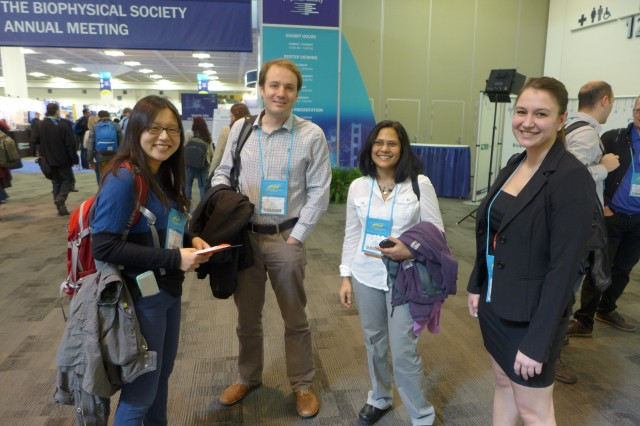 Pictured at the Biophysical Society meeting are, from left, graduate student Yan Li; Rich Olson, assistant professor of molecular biology and biochemistry; Ishita Mukerji, professor of molecular biology and biochemistry, dean of the Natural Sciences and Mathematics Division, and graduate student Katie Kaus.