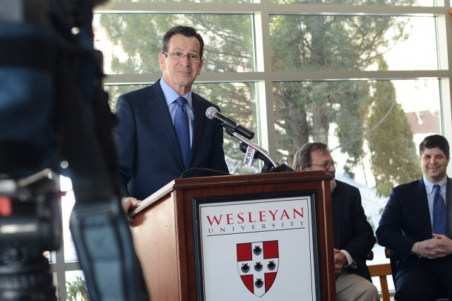 Connecticut Governor Dannel Malloy spoke to the audience and members of the media at the microgrid dedication. In July 2013, Wesleyan received a $694,000 grant from the state Department of Energy and Environmental Protection to connect the CHP engines to the campus' electrical grid.
