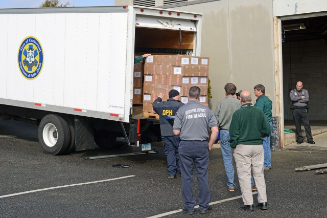 The State of Connecticut Department of Public Health delivered several pallets of medical assets, used for training purposes, to Wesleyan's Bacon Field House as part of a public health emergency drill on March 20. Wesleyan's Campus Community Emergency Response Team participated in the day-long training.