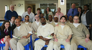 Inmates, faculty, and administrators of the Center for Prison Education gather in its first year at the Cheshire Correctional Institution in Cheshire, Conn.
