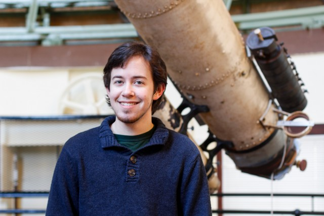 Graduate student Eric Edelman is writing a master's thesis on the process of measuring the winds of stars. He's focusing on stellar systems that have known planets orbiting them, with the aim of trying to decipher how the measured winds of these stars may affect or potentially even dissipate the atmospheres of their host planets. (Photos by Hannah Norman '16)