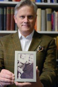 Grimmer-Solem holding a photo of his grandfather, Dr. Odd Solem, and his father, Eivind Solem, taken in 1939, one year before the German invasion of Norway. Odd Solem, part of the Norwegian resistance movement, was arrested by the Gestapo and met General Hans von Sponeck in prison in 1942.