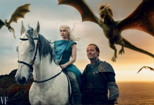 Game of Thrones cast members Emilia Clarke and Iain Glen are seen in this image by Annie Leibovitz for Vanity Fair.