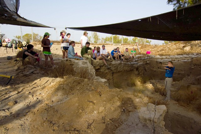 Kate Birney, assistant professor of classical studies, assistant professor of archaeology, leads a student excavation team at the site of Ashkelon. The site is located in the southern district of Israel on the Mediterranean coast.