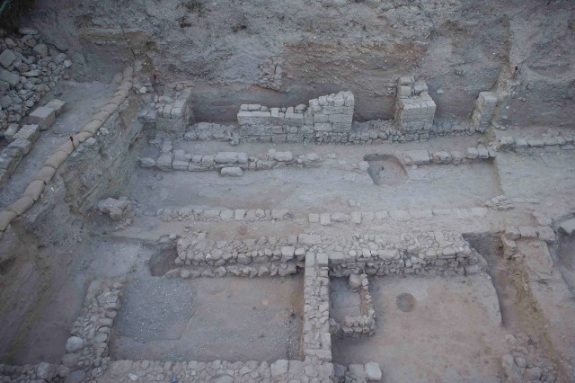"""Kate Birney and the Wesleyan students helped unearth an old street in """"Area 51"""" of the Ashkelon Archaeological dig."""