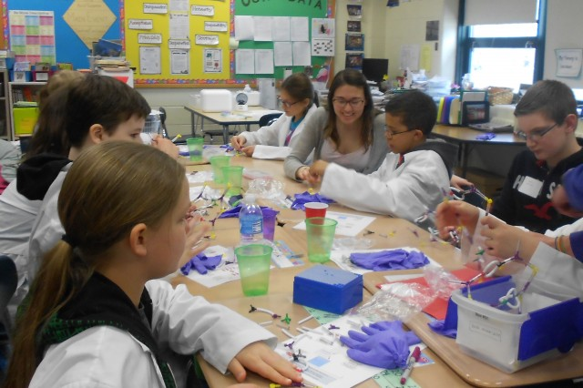 Wesleyan students and faculty participated in a Minds in Motion event at Snow Elementary School on March 8. Ishita Mukerji, dean of the Natural Sciences and mathematics Division, professor of molecular biology and biochemistry, hosted a DNA workshop with nine middle school students.