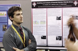 "Peter Martin '14 presented a poster titled ""Modeling and Mineralogical Analyses of Potential Martian Chloride Brines."""