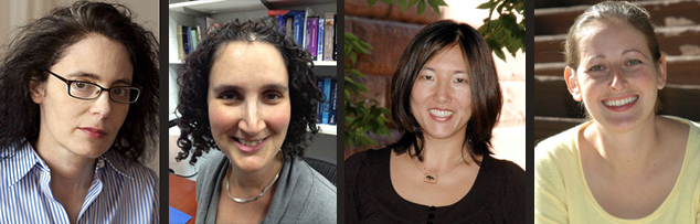 Newly tenured faculty are, from left, Lisa Cohen, Abigail Hornstein, Miri Nakamura and Anna Shusterman.