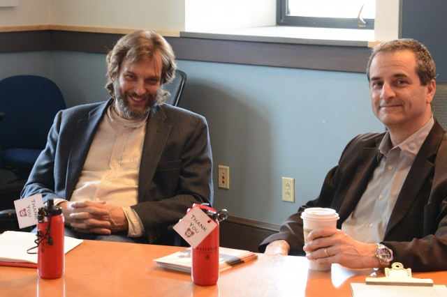 "Joop Varekamp, the Harold T. Steans Professor of Earth Science, professor of environmental studies, and Eban Goodstein P'10, director of the Bard Center for Environmental Policy, spoke to students on April 8 during a ""Sustainability Career Panel"" in the Allbritton Center."