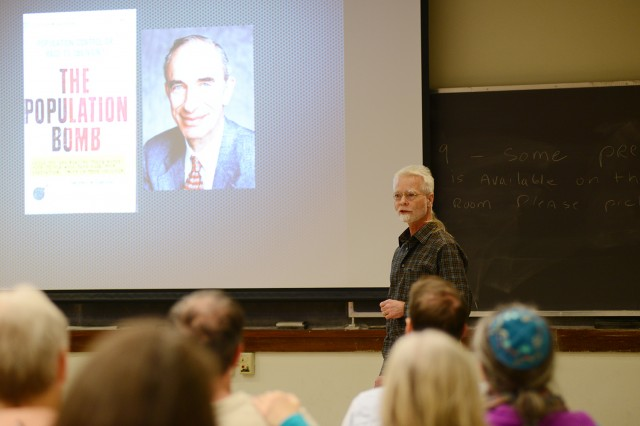 "Wesleyan celebrated Earth Month by hosting several sustainability-related events throughout the month of April. Brian Stewart, professor of physics, led his annual ""Earth Week Rant"" on ""The Yin and Yang of Sustainability"" on April 24."