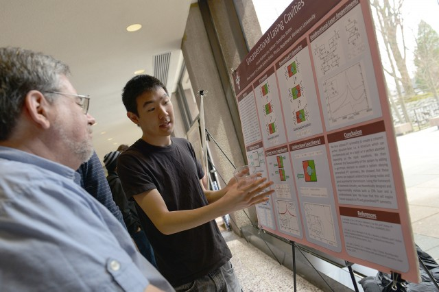 "Junsik Matthew Lee '14 presented his research on ""Unconventional Lasing Cavities."" His advisor was Tsampikos Kottos, the Douglas J. and Midge Bowen Bennet Associate Professor of Physics."
