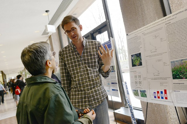 "Graduate student Caleb Corliss '13 presented his study, ""High-Performance Genotypes of Polygonum cespitosum Show Greater Competitive Ability."" His advisor was Sonia Sultan, professor of biology, professor of environmental studies."