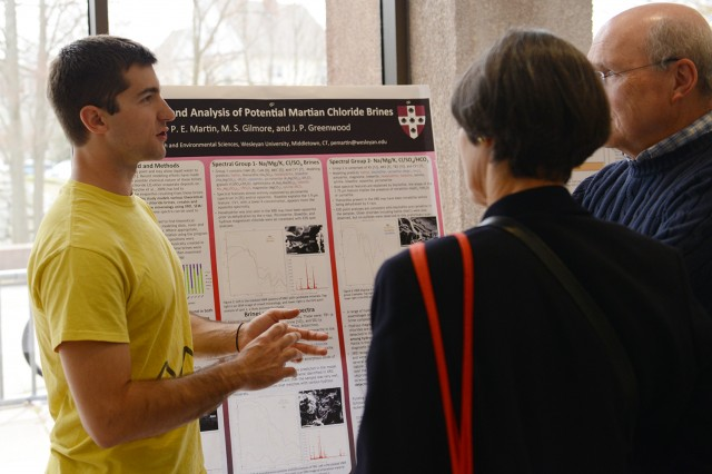"Peter Martin '14 presented a poster on ""Modeling and Analysis of Potential Martian Chloride Brines."" His advisors were Martha Gilmore, associate professor of earth and environmental sciences, and James Greenwood, assistant professor of earth and environmental sciences."