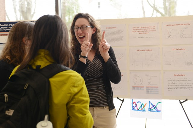 "Graduate student Sarah Hensiek '13 presented her research on ""Synthesis, Characterization, and pH-Dependent Relaxivity of the Mn(II) Complex of a Novel Cyclen-Based Ligand."" Her advisor was T. David Westmoreland, associate professor of chemistry."