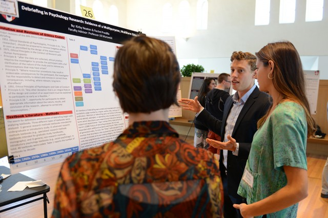 "Kirby Neaton '14 and Rachel Pradilla '15 presented their study, ""Debriefing in Psychology Research: Evidence of a Multipurpose, Multiform Ethics Principle."" Their advisor was Jill Morawski, professor of psychology and feminist, gender, and sexuality studies."
