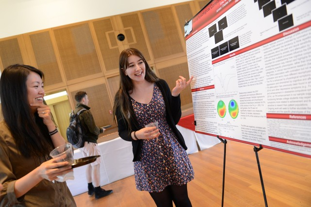 "Ema Tanovic '14 presented her research on """"Electrophysiological Correlates of Error Processing in Rumination."" Her advisor was Charles Sanislow, assistant professor of psychology."