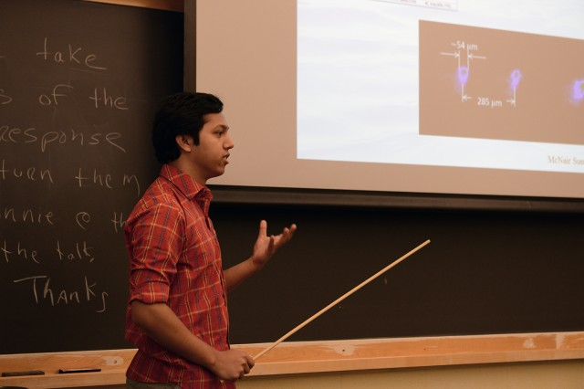 "Rashedul Haydar '14 presented his study on ""Laser Induced Plasmas Under Bulk Water: Spatiotemporal Characteristics and Spectral Analysis."""
