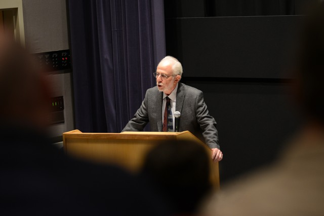 "Richard Slotkin, the Olin Professor of American Studies and English, emeritus, delivered a lecture on ""Thinking Mythologically: Black Hawk Down, Platoon and the War of Choice in Iraq"" April 24 in Powell Family Cinema. This was the inaugural lecture in the Richard Slotkin American Studies Lecture Series."