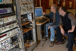 Tsampikos Kottos is working with Professor of Physics Fred Ellis on a sensor experiment.