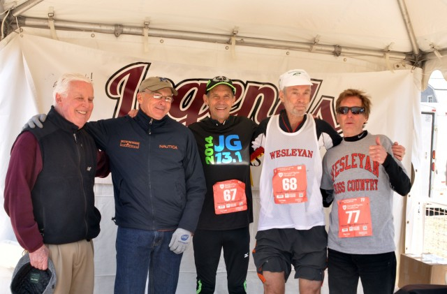 Pictured, left to right, are John Driscoll '62, advisor at the Wesleyan Career Center; John Hastings '71, a former Wesleyan standout runner and track and cross country coach at Middletown's Mercy High School; Jeff Galloway '67; Amby Burfoot '68; and Bill Rodgers '70.