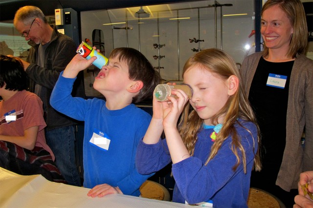 Participants experimented with optics by making cameras and kaleidoscopes.