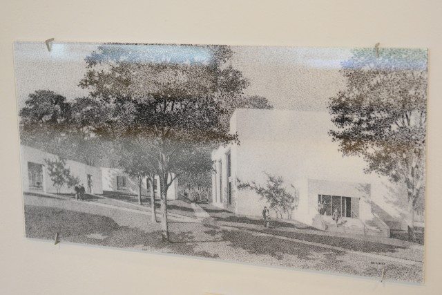 James Barr sketched this pencil rendering of the CFA's smooth planar walls that parallel Wyllys Avenue, enclosed by the Rehearsal Hall.