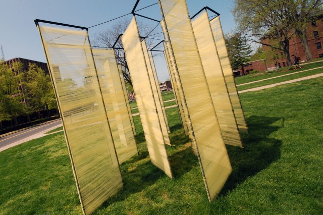 """""""'Confession' is our attempt to distill the emotions and moods of these previous iterations in an immersive spacial experience,"""" explained Isaac Pollan '15. """"Here, the screen has evolved from a singular divider between priest and penitent to a multi-dimensional field of shelter, permeability and introspection."""""""
