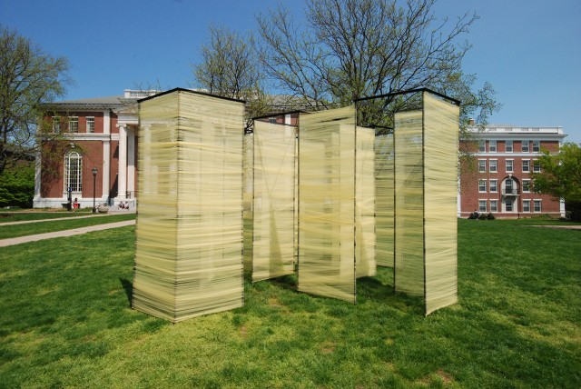 "Students enrolled in Wesleyan's Architecture II class designed and installed an exhibit titled ""Confession"" in front of Olin Library."