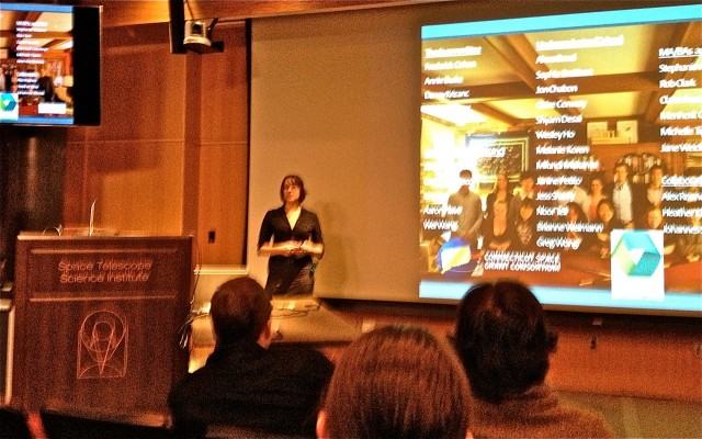 Biology Ph.D candidate Sarah Kopac speaks at the the Space Telescope Science Institute's Spring Symposium.