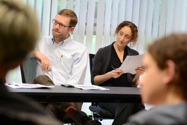 Paul Erickson, assistant professor of history, assistant professor of science in society, assistant professor of environmental studies, and Eirene Visvardi, assistant professor of classical studies, were among the participators in the concluding question and answer session.