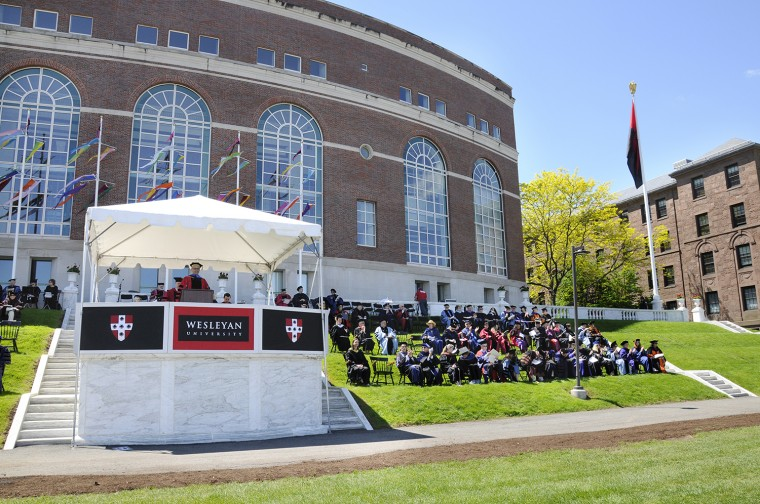 Wesleyan President Michael Roth '78 speaks during the 2014 Commencement ceremony. (Photo by John Van Vlack)