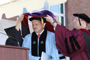 During Wesleyan's Commencement Ceremony on May 25, Wesleyan President Michael Roth awarded honorary degrees to Hayden White, Theodore Shaw '76 and Helena Chmura Kraemer.