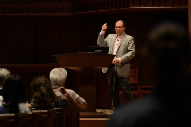 "Brian Harrison, visiting assistant professor of government, spoke on ""Tolerating Tolerance."""
