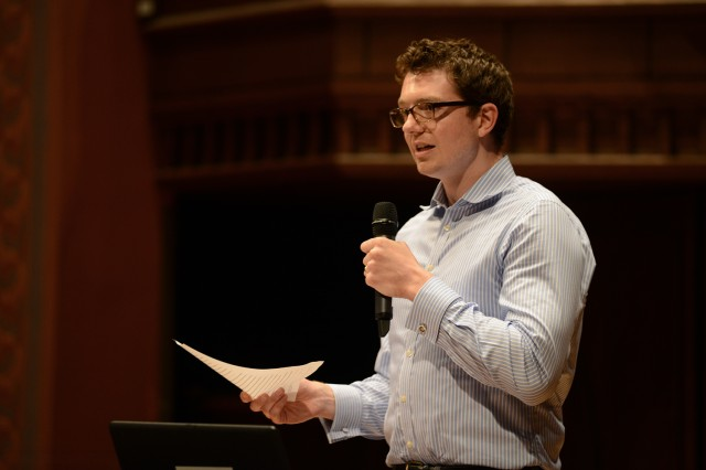 """Laurence Hooper, visiting assistant professor of Italian literatures and classics, spoke on """"Why Does Dante's Exile Matter?"""""""
