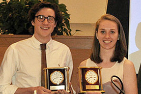 John Steele '14 and Mary Foster '14 received the Roger Maynard Memorial Award.
