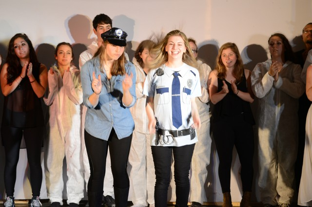 "Kate Centofanti '14 played the role of ""Officer Boots"" and Ali Goldberg '15 starred as ""Officer Puss."""