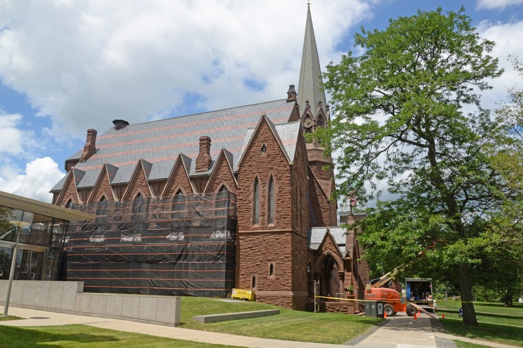 The Memorial Chapel and 92 Theater received a foam insulation application to above the attics to reduce humidity infiltration and provide improved HVAC control and consistency. Contractors are also painting the chapel's exterior wood sills and clock tower section this summer.