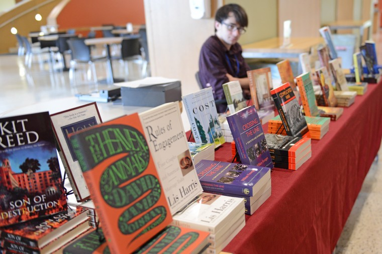 A representative from Broad Street Books sold copies of books written by the Wesleyan Writing Conference faculty.
